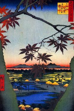 Utagawa Hiroshige Japanese Maple Trees at Mama Plastic Sign by Ando Hiroshige