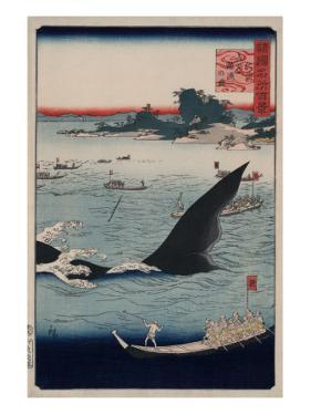 Whale Hunting at Goto in Hizen Province by Ando Hiroshige