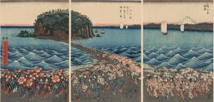 Women Pilgrims at Enoshima Shrine of Benzaiten, the Goddess of Good Fortune by Ando Hiroshige