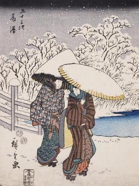 Fujisawa From the Series 53 Stations of the Tokaido, 1852 by Ando or Utagawa Hiroshige