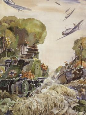 Supported by Planes, Tanks Speed into Battle by Andre Durenceau