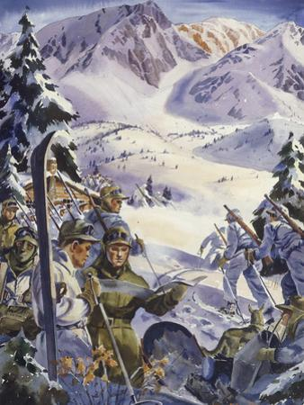 U.S. Ski Troops Train in the Snow for Mountain Work by Andre Durenceau