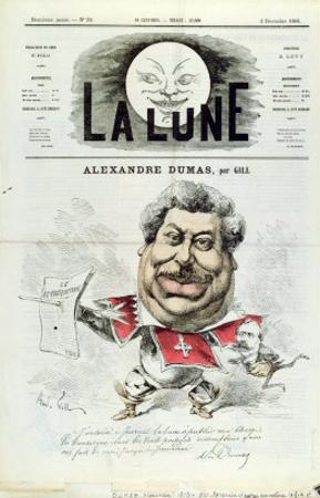 Caricature of Alexandre Dumas Pere by André Gill
