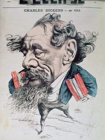 Charles Dickens Astride the English Channel, Cover Illustration from 'L'Eclipse', 14th June 1868