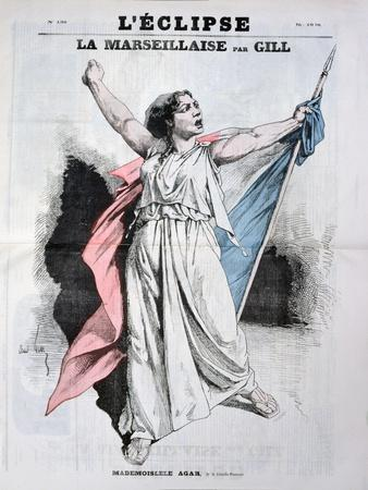 Mlle Agar Singing the Marseillaise, from the Front Cover of LEclipse, 28th August, 1870