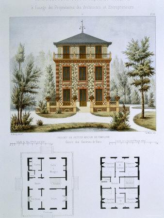 Small Country House Near Paris, Engraved by Walter, Plate 12, Architecture Pittoresque et Moderne
