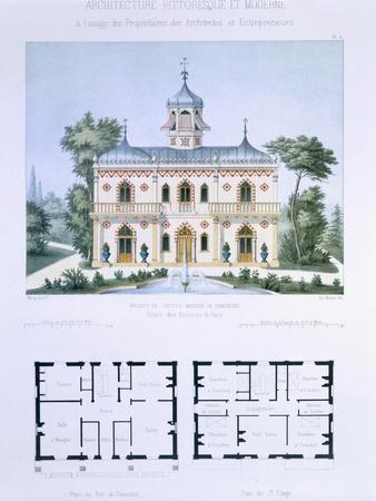 Small Country House Near Paris, Engraved by Walter, Plate 5, Architecture Pittoresque et Moderne