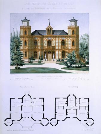 Small Country House Near Paris, Engraved by Walter, Plate 7, Architecture Pittoresque et Moderne