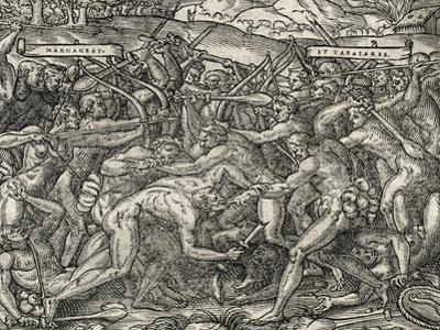 Battle Between Margageaz and Tabajares Tribes, Engraving from Universal Cosmology
