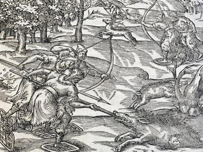 Indians Boar Hunting, Engraving from Universal Cosmology
