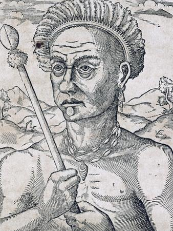 King Quoniambec, Brazil, Engraving from Universal Cosmology