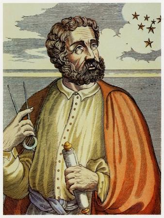 Portrait of Ferdinand Magellan (1480 - 1521) with Navigational Instruments. (Colour Litho.)