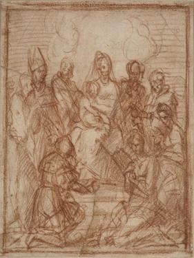 Enthroned Madonna with Child and Eight Saints (Composition Stud), 1528 by Andrea del Sarto