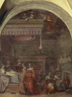 Italy, Florence, Cloister of Votes, Basilica of Most Holy Annunciation, Birth of Virgin, 1514 by Andrea del Sarto