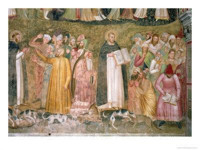 The Church Militant and Triumphant, Thomas and Peter Confuting the Heretics, Spanish Chapel,C.1369
