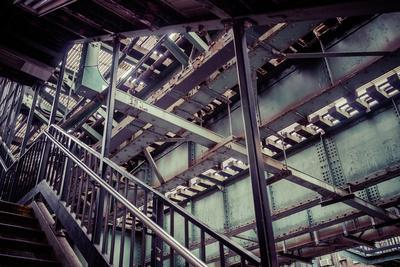 Subway station stair railing and steel construction with corrosion, Brooklyn, New York, USA