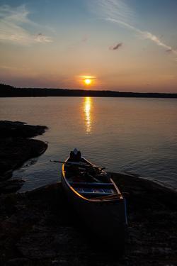 Sundown, Lelang Lake, boat, Dalsland, Götaland, Sweden by Andrea Lang