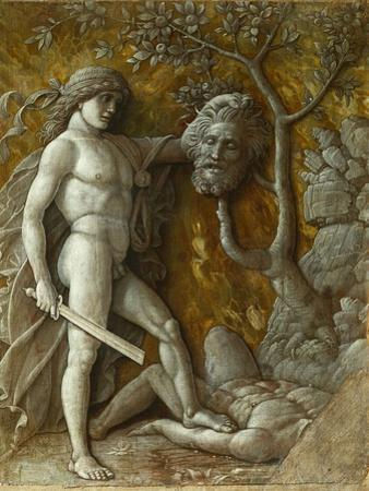 David and Goliath. Monochrome workshop painting Imitation of a relief (around 1490) by Andrea Mantegna