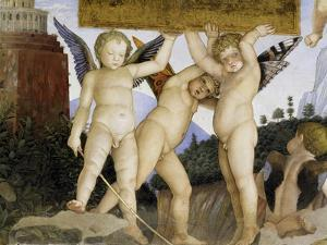 Detail of Camera Degli Sposi: Putti Holding Tablet by Andrea Mantegna