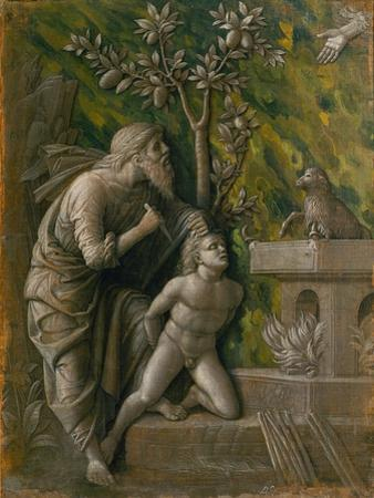 The Sacrifice of Isaac. Monochrome painting, imitation of a relief (around 1490) by Andrea Mantegna