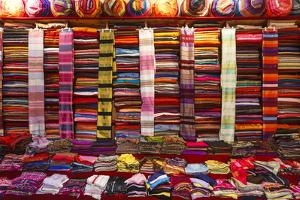 Morocco, Marrakech, Textiles and Fabrics in a Souk by Andrea Pavan
