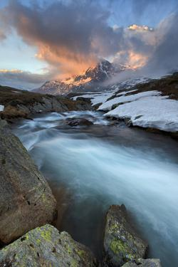 Italy, Italian Alps, Lombardy, Sunset in Stelvio National Park. by Andrea Pozzi