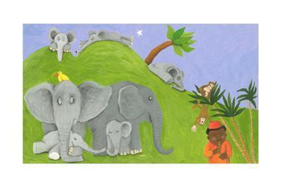 Elephants Family, Monkeys and One African Boy by andreapetrlik