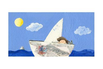 Little Boy and Cat Sailing by andreapetrlik