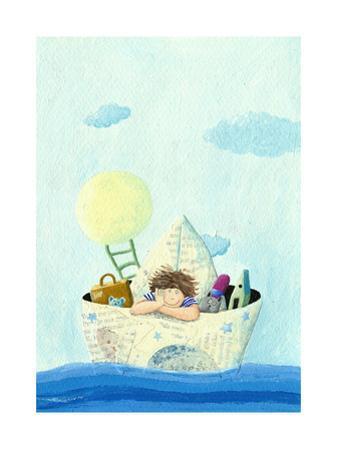 Little Boy Sailing in a Paper Boat by andreapetrlik