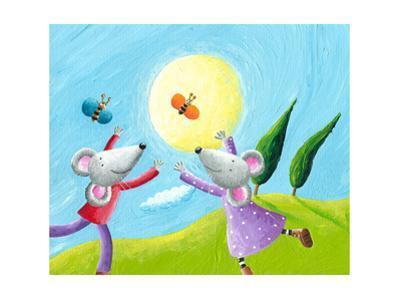 Mice in Love Running in the Meadow by andreapetrlik