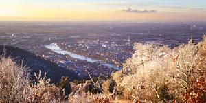 A dreamy view over Rhein Main Valley with Heidelberg City and Neckar River, framed by ice and rime  by Andreas Brandl