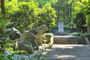 Animal Statues at Yu Qian's Tomb, Hangzhou, Zhejiang, China, Asia by Andreas Brandl