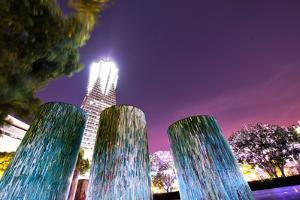 Decorative illuminated architectural design elements at Hangzhou Global Center, Hangzhou, Zhejiang, by Andreas Brandl