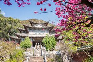 Fu Guo Temple, Five Phoenix Building (Formerly Buddhist Cloud Building) in Spring, Lijiang by Andreas Brandl
