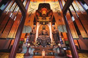 Interior Architecture and Ru Lai Buddha Statue at Lingyin Monastery in Hangzhou, Zhejiang, China by Andreas Brandl