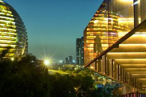 Night Capture of Ultra Modern Architecture in Jianggan by Andreas Brandl