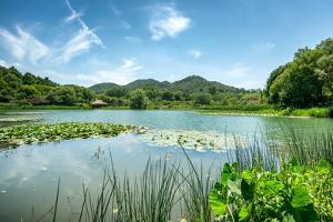 West Lake Landscape with Green Hills, Lake and Blue Sky, Hangzhou, Zhejiang, China by Andreas Brandl
