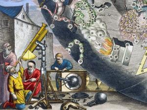 Astonomers looking through a telescope, 1660-1661 by Andreas Cellarius