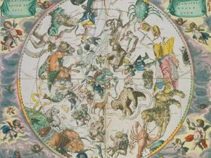 Celestial Planisphere Showing the Signs of the Zodiac by Andreas Cellarius
