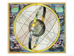 Map Charting the Orbit of the Moon Around the Earth by Andreas Cellarius