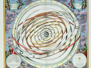 """Planetary Orbits, Plate 18 from """"The Celestial Atlas, or the Harmony of the Universe"""" by Andreas Cellarius"""