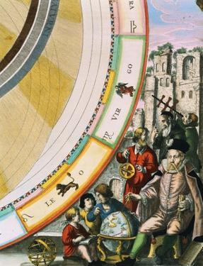 Tycho Brahe, Detail from a Map of his System of Planetary Orbits from The Celestial Atlas by Andreas Cellarius