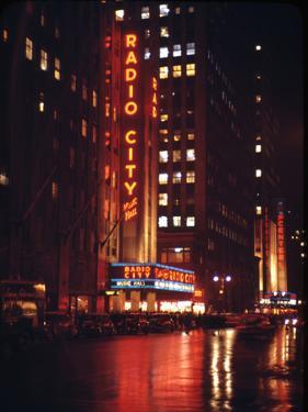 1945: Radio City Music Hall Lit Up at Night, New York, Ny by Andreas Feininger