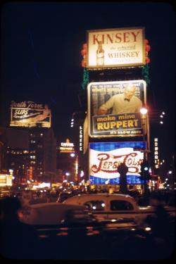 1945: Times Square at Night with Traffic and Lit Billboards, New York, Ny by Andreas Feininger