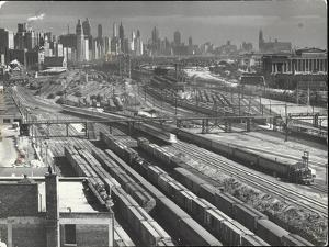 Aerial View Overlooking Network of Tracks for 20 Major Railroads Converging on Union Station by Andreas Feininger