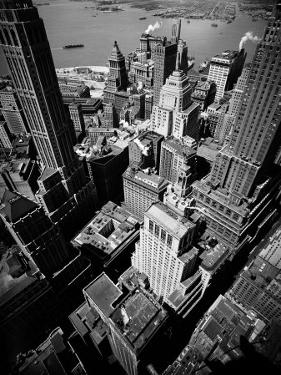 Birds Eye View of New York City Looking Southeast Downtown Towards Battery Park by Andreas Feininger