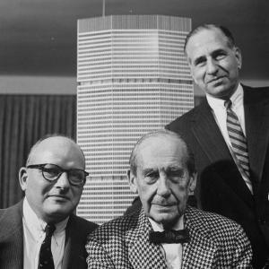 Builder Emory Roth, Erwin Wolfson, and Architect Walter Gropius with Grand Central Building Model by Andreas Feininger