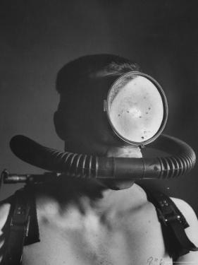 Closeup of a Diver Wearing a Mask and Breathing Apparatus by Andreas Feininger