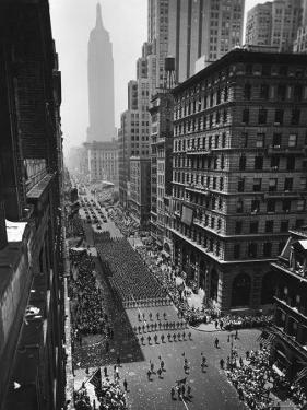 Columns of US Soldiers Marching Independence Day Parade Up 5th Avenue by Andreas Feininger