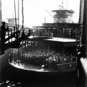 Commuters Crowded Aboard Staten Island Ferry by Andreas Feininger